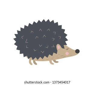 Cartoon cute hedgehog in modern flat style.  Isolated on white vector hedgehogn character
