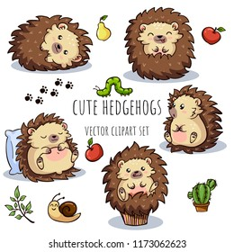 Cartoon cute hedgehogs for baby card and invitation. Vector clipart set.