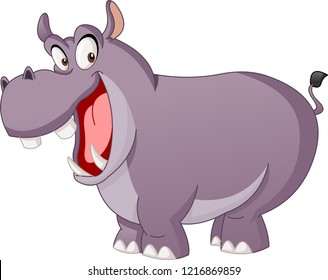 Cartoon cute hippo. Vector illustration of funny happy Hippopotamus.