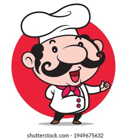 Cartoon cute Italian chef with big moustache introduce menu for your food business on red circle background - character