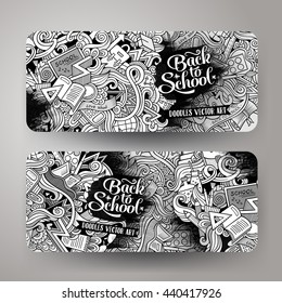 Cartoon cute line art sketchy vector hand drawn doodles school corporate identity. 2 horizontal line art banners design. Templates set