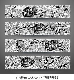 Cartoon cute line art vector hand drawn doodles travel corporate identity. 4 horizontal journey banners design. Templates set