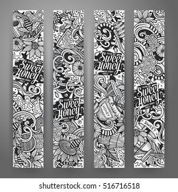 Cartoon cute line art vector hand drawn doodles Honey corporate identity. 4 vertical banners design. Templates set