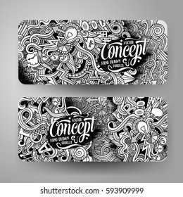 Cartoon cute line art vector hand drawn doodles Idea corporate identity. 2 horizontal banners design. Templates set