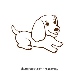 Cartoon cute little dog. Monochrome illustration for perfect card or any kind of design. Isolated on white background