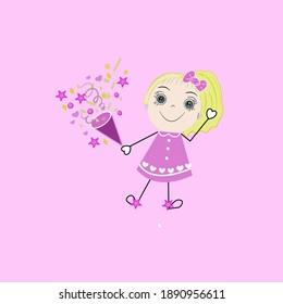 Cartoon cute little girl on pink background, enjoying life. Vector