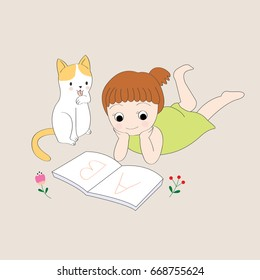 Cartoon cute little girl is reading a book with her cat vector.