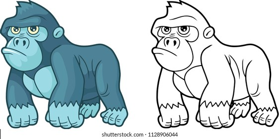 cartoon cute little gorilla, design funny illustration