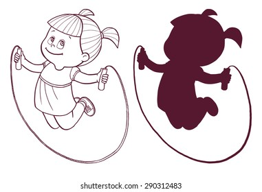 Cartoon cute little / teen girl jumping with skipping rope. Isolated vector illustration with silhouette on a white background.