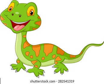 Cartoon cute lizard. vector