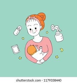 Cartoon cute mom and baby feeding vector.