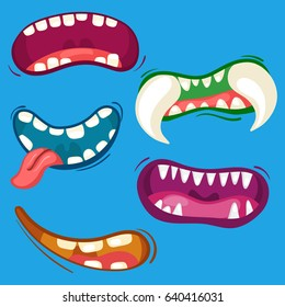 Cartoon cute monster mouths set with different emotional expressions. Teeth, tongue and mouth collection. Halloween vector illustration.