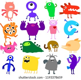 cartoon cute monster vector set