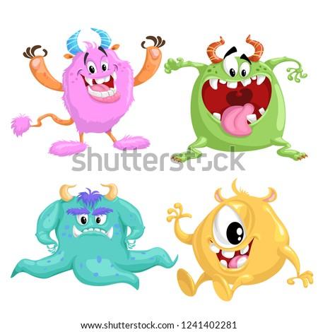 Cartoon Cute Monsters Set Vector Drawing Stock Vector Royalty Free