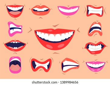 Cartoon cute mouth expressions facial gestures set with pouting lips smiling sticking out tongue isolated vector illustration. Smiles and lips icons set.