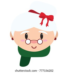 Cartoon cute mrs claus isolated