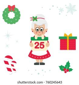 cartoon cute mrs santa with calendar vector cartoon illustration