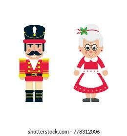 cartoon cute nutcracker and mrs claus