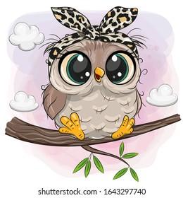 Cartoon Cute Owl with big eyes is sitting on a branch