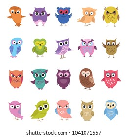 Cartoon cute owls set. Funny and angry colored birds big collection. Vector illustration