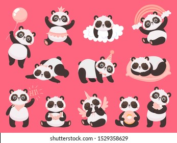 Cartoon cute panda. Little baby pandas, adorable sleeping animals and pink princess panda bear. Chibi mascot character, bamboo pandas expression. Isolated vector illustration icons set
