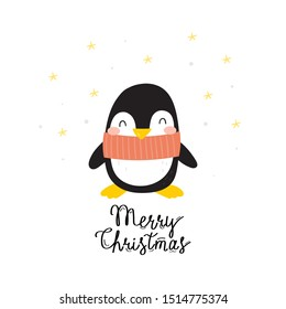 Cartoon cute penguins vector character. Christmas print with penguins in hats. Merry Christmas card. Bright funny cartoon card .