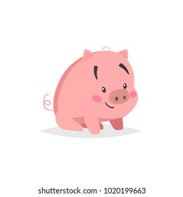 Cartoon cute pig. Sitiing and smiling little piglet with funny face. Domestic animal character. Vector illustration isolated on white background.