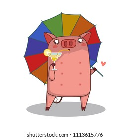 cartoon cute pig with tie and umbrella