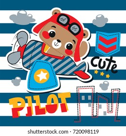 Cartoon cute pilot bear riding an airplane flying over city on striped background illustration vector.