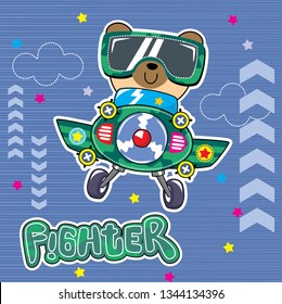Cartoon cute pilot little bear flying with airplane on striped background illustration vector