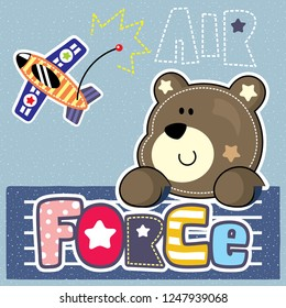 Cartoon cute pilot teddy bear flying with airplane on striped background illustration vector.