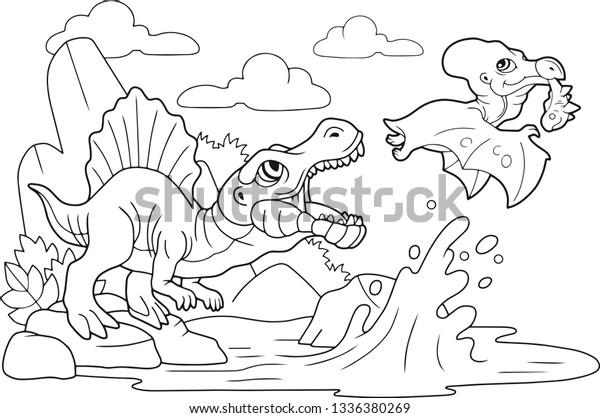 Cartoon Cute Prehistoric Dinosaurs Coloring Book Stock ...