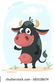 Cartoon cute pretty cow standing and smiling. Vector illustration of a cow icon mascot isolated on white.