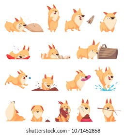 Cartoon cute puppy set of different situations including sleep, eating, howl, walking and pranks isolated vector illustration