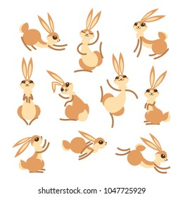 Cartoon cute rabbit or hare. Little funny rabbits. Vector illustration grouped and layered for easy editing.