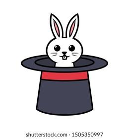 Cartoon Cute Rabbit in Magic Hat