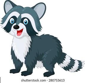 Cartoon cute raccoon on white background