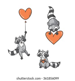 Cartoon cute  raccoons set by Valentine's Day. Vector image. Doodle style.