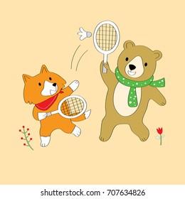 Cartoon cute red fox and brown bear playing badminton vector.