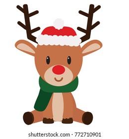 Cartoon cute reindeer isolated