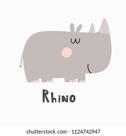 Cartoon cute rhino.