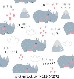 Cartoon cute rhino. seamless pattern