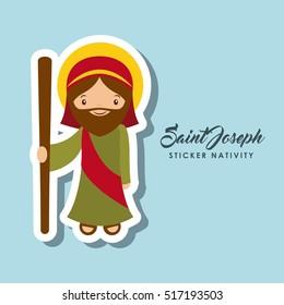 cartoon cute saint joseph character over blue background. sticker nativity design. vector illustration