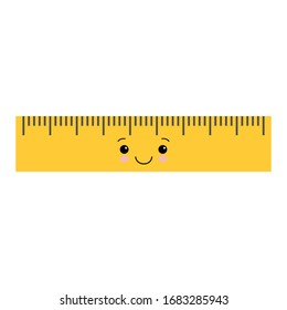 Cartoon cute school ruler isolated on white background for educational, school or office design. Kawaii style