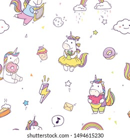 Cartoon cute seamless pattern with fairy unicorns and bright elements like watermelon, harp, donuts