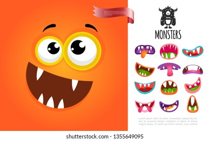 Cartoon Cute Silly Creature Face Concept