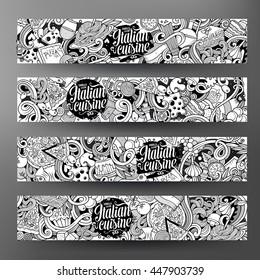 Cartoon cute sketchy vector hand drawn doodles italian food corporate identity. 4 horizontal line art banners design. Templates set