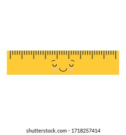 Cartoon cute sleeping school ruler isolated on white background for educational, school or office design. Kawaii style