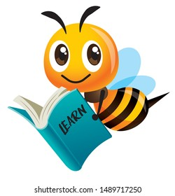 Cartoon cute smiling bee mascot carrying a blue book. Back to school - Vector mascot isolated