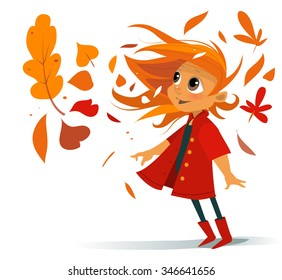 Cartoon cute smiling girl in red coat and boots with automn falling leaves spin in wind vector illustration